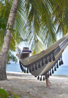 tassel hammock on beach