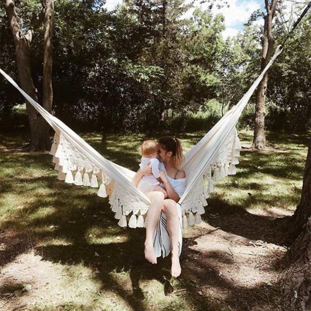 beige macrame hammock