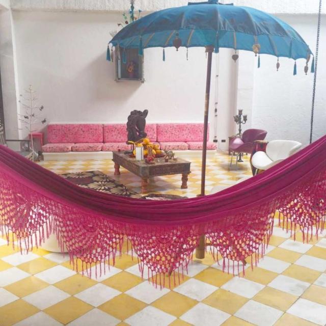 pink indoor hammock