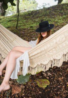 beige luxurious croche hammock
