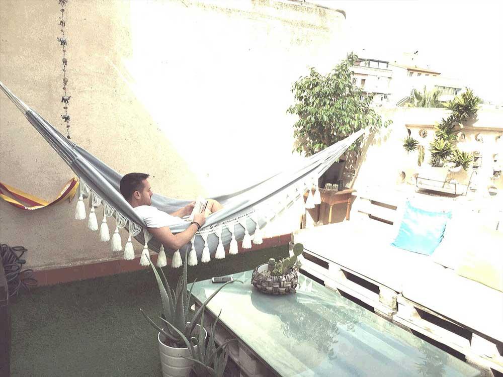 patio macrame hammock